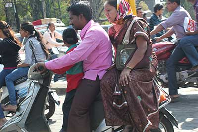 Family on motor cycle