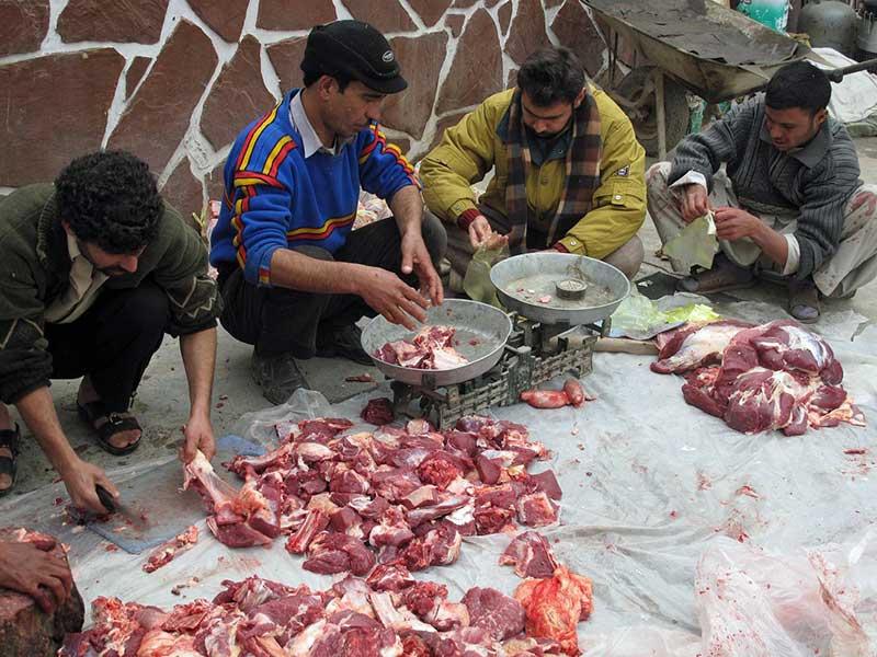 Sorting meat on Eid