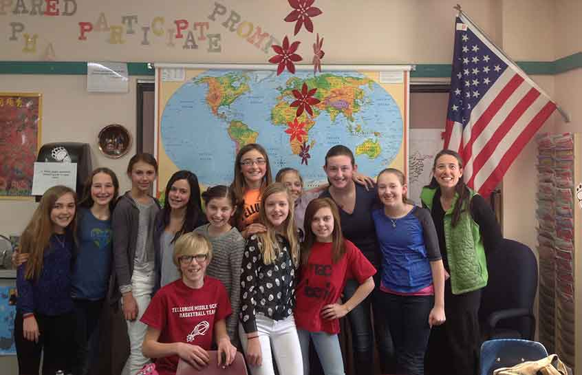 American middle school classroom