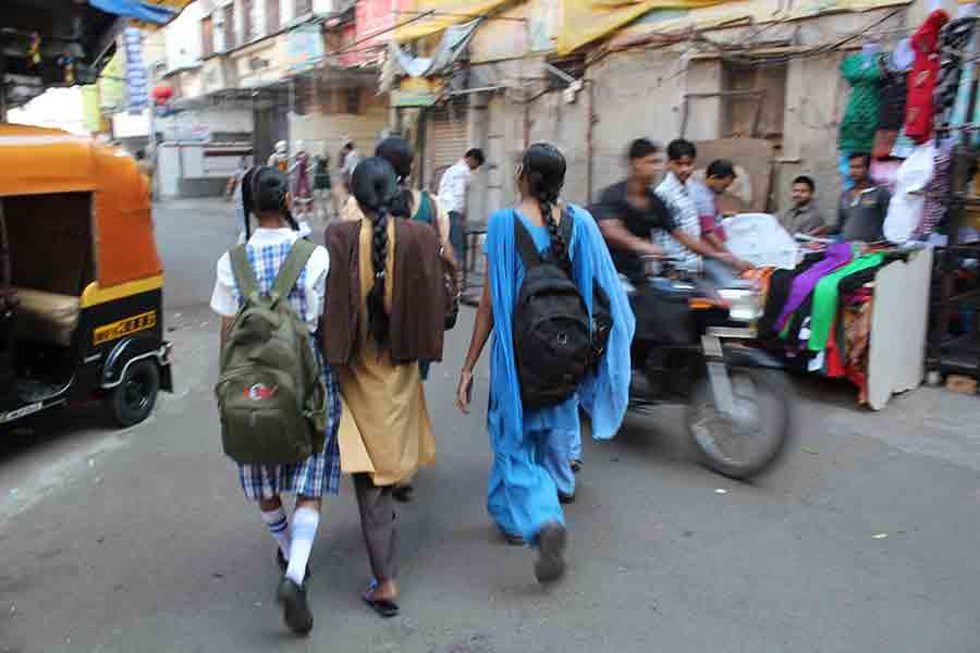 Girls walking through the street