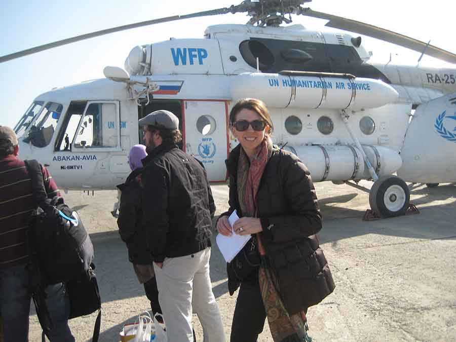 Dina boarding helicopter