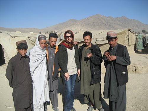 Dina with Afghan teens