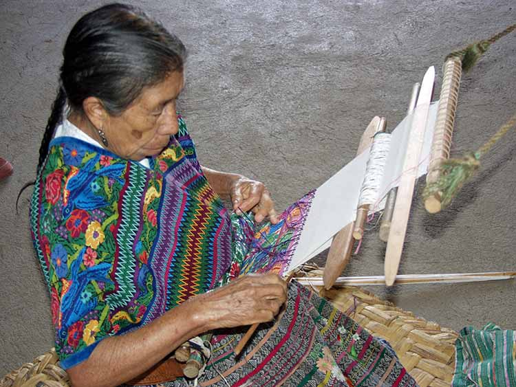 Grandmother weaving