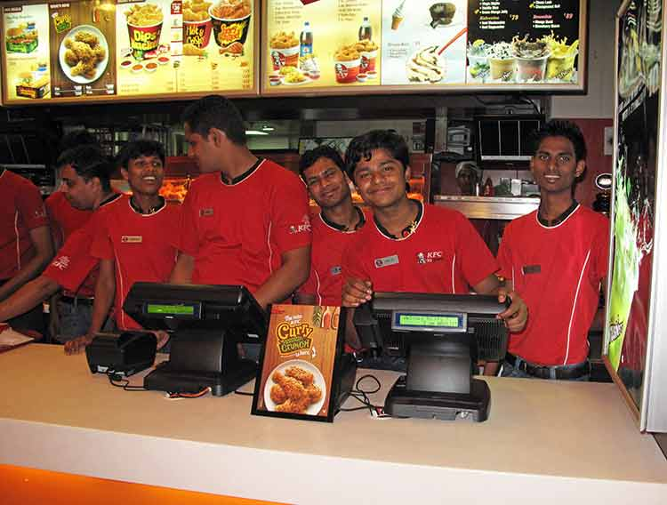 Employees at restaurant