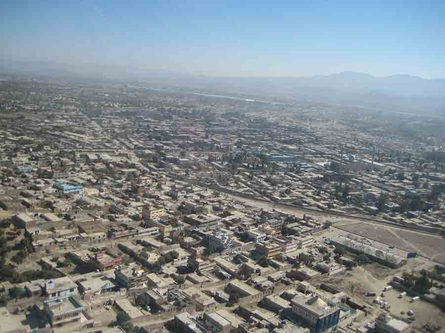 Khost city from helicopter