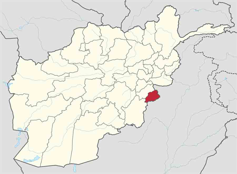 Map of Khost, Afghanistan