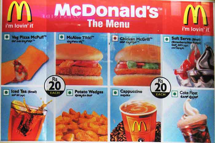 Mcdonalds menu in india
