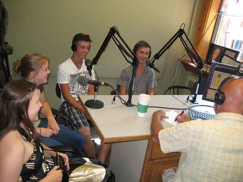 Operatives being interviewed on radio