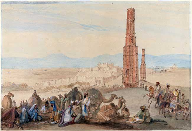 Old painting of the Silk Road in Afghanistan