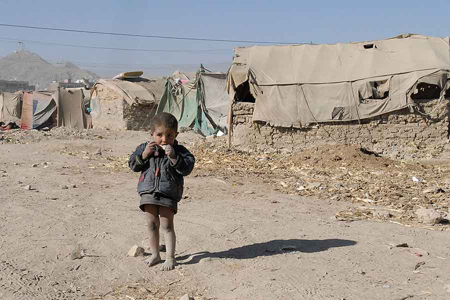 Afghan child in refugee camp