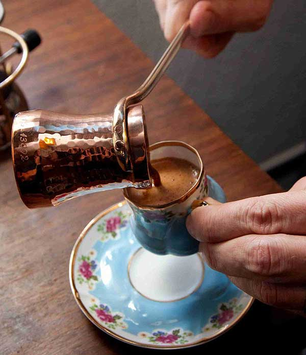 Arab style coffee being pour