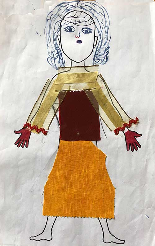 paper doll of wealthy woman