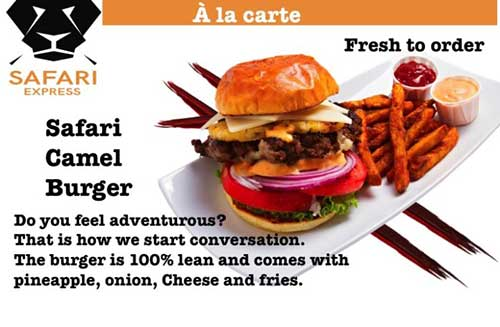 Camel burger on the menu