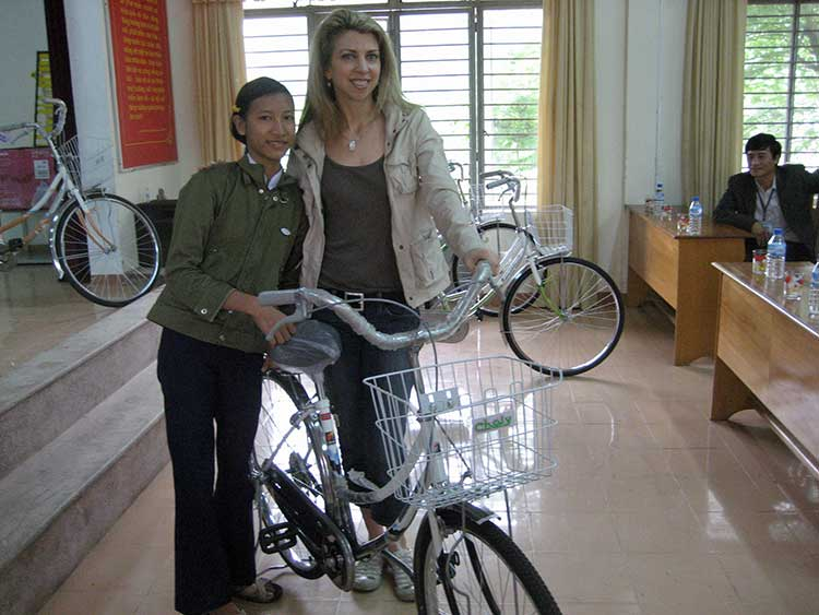 Dina with bike recipient
