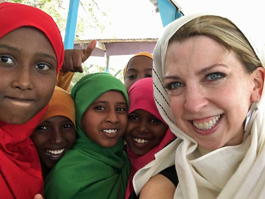Dina with Somali kids