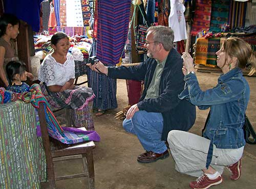 Dina and Joe meet local weaver