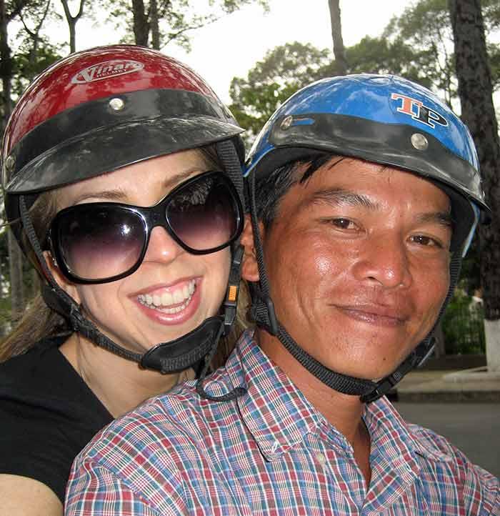 Dina on motorbike