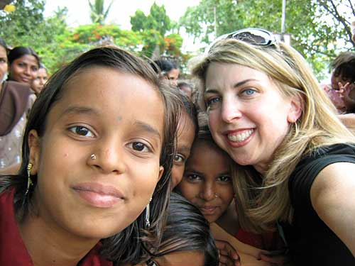 Dina with teenagers from India