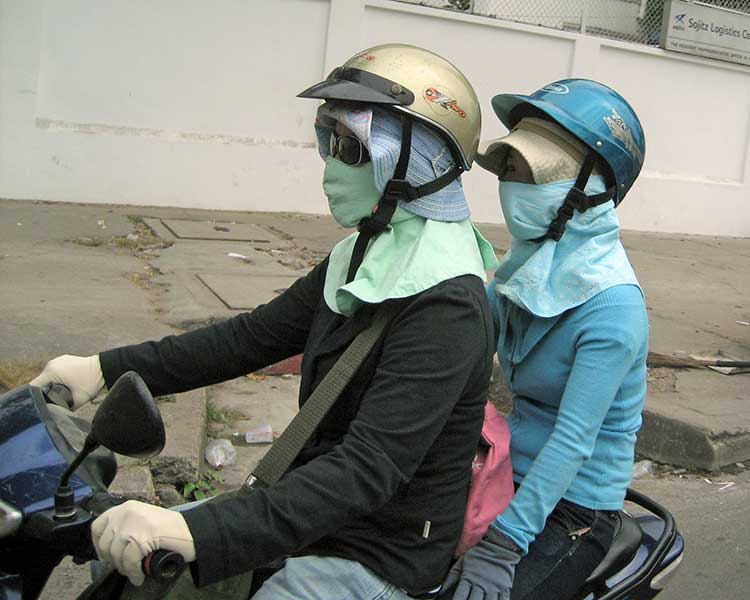 Couple on motor bike