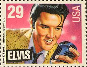 Elvis on postage stamp