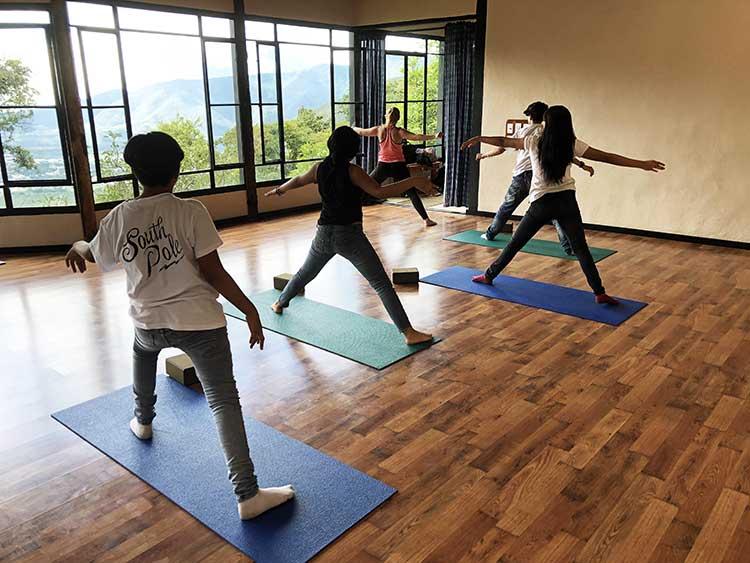 Guatemalans doing yoga