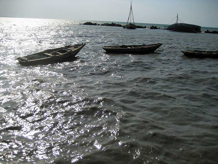 Fishing boats in ocean