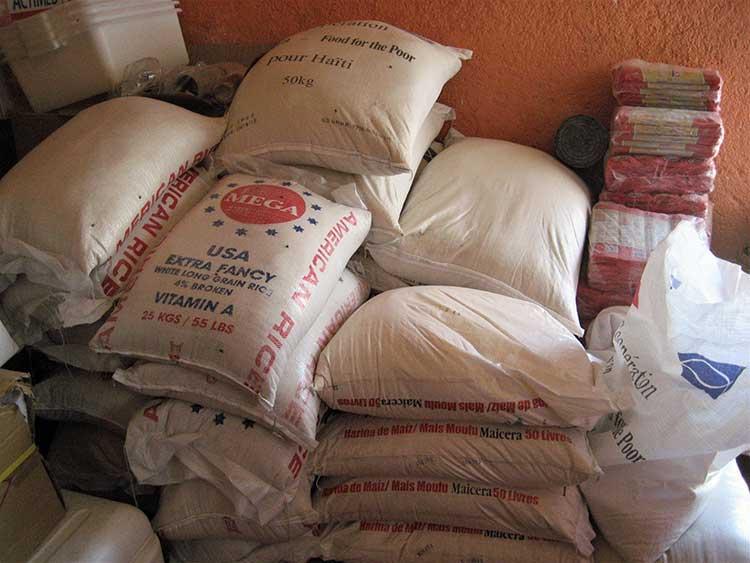 Donated food sacks