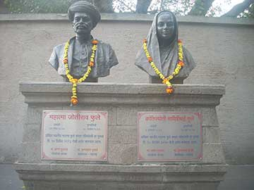 Memorial busts of Savitribai Phule and her husband