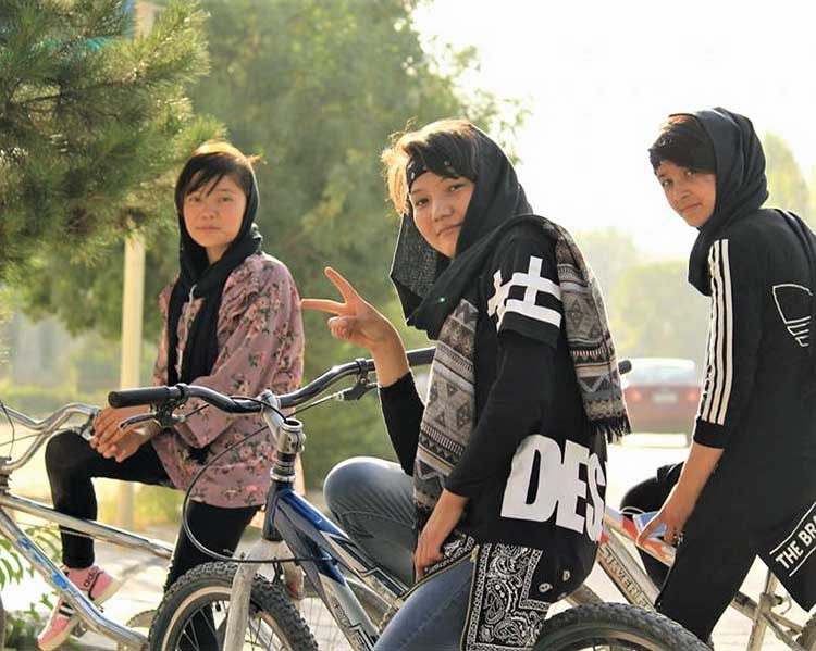 Afghan girls on bikes