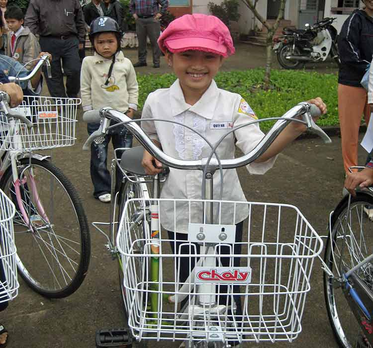 Girl with new bike