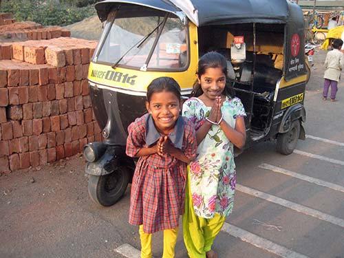 Girls smiling in street