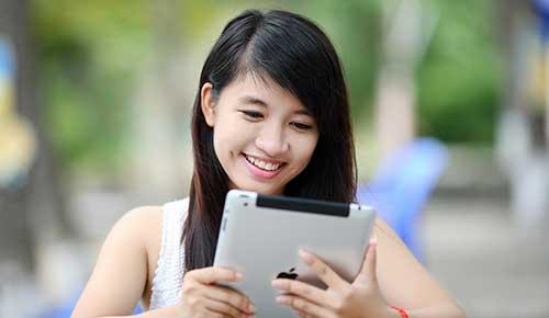 Teen using tablet