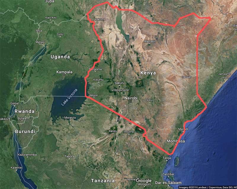 Satellite map of Kenya