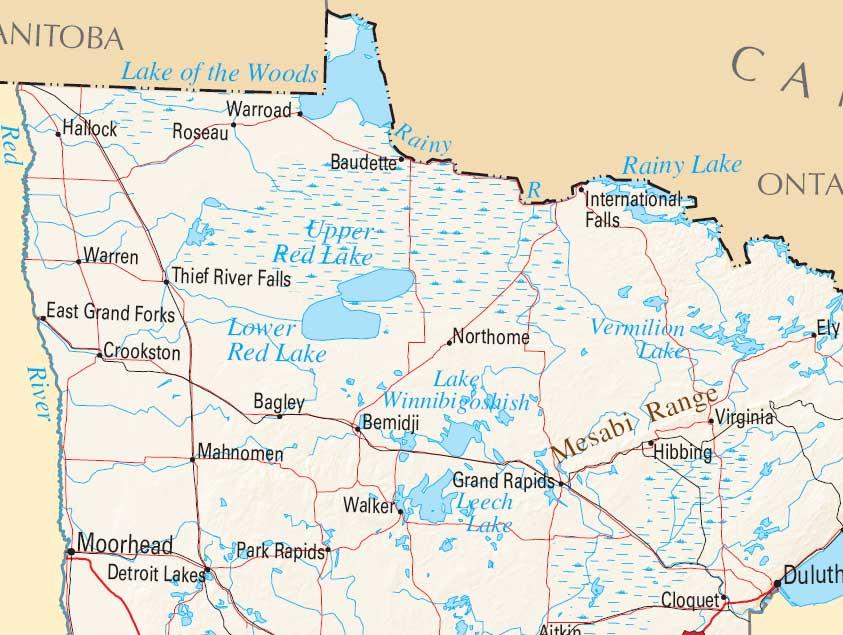 Map of Red Lake, MN