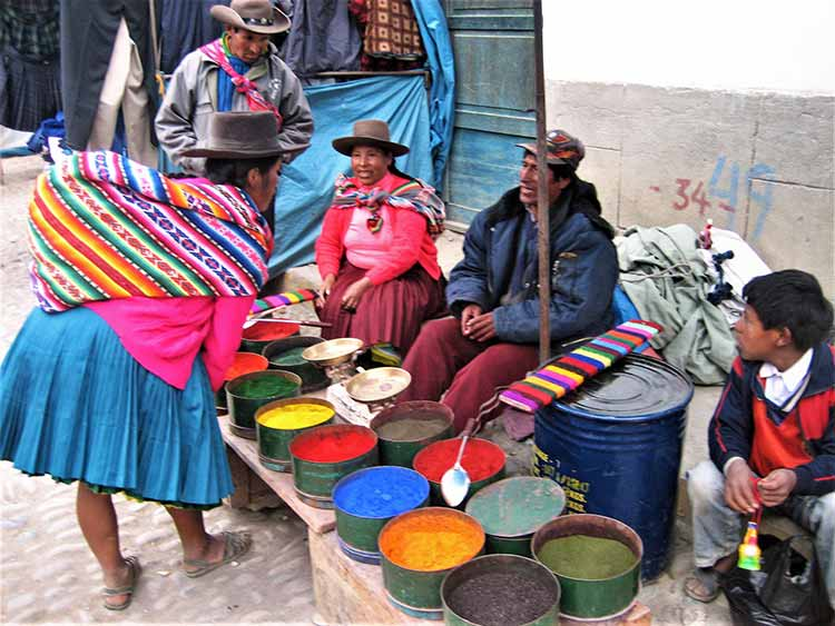 Store owner selling yarn dye