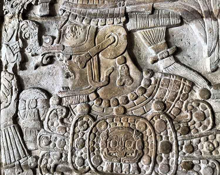 Carving of Mayan warrior