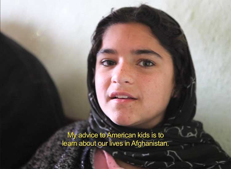 Karima talking to American kids