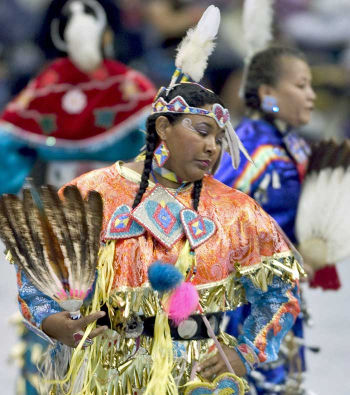 Native woman dancing