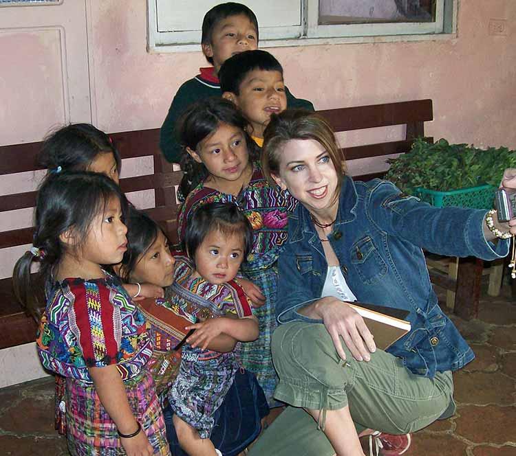 Dina with Guatemalan kids