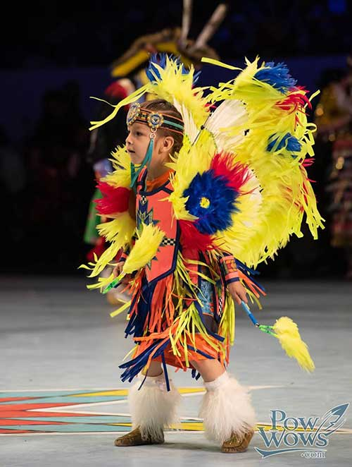Native child performaning at pow wow