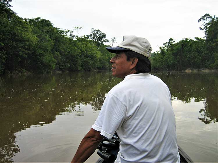 Guide in canoe