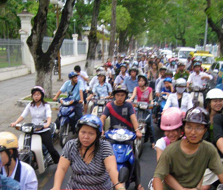 Crowded street in Vietnam