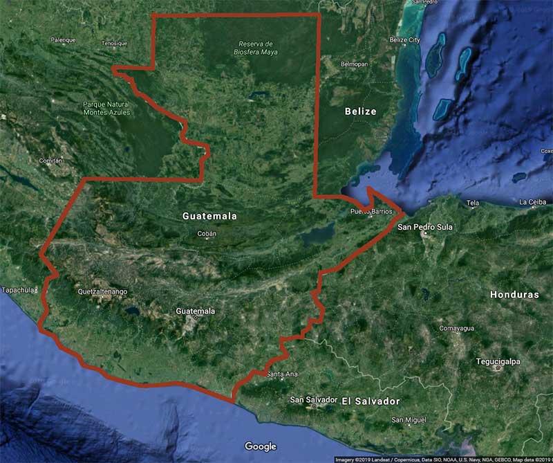 Satellite map of Guatemala