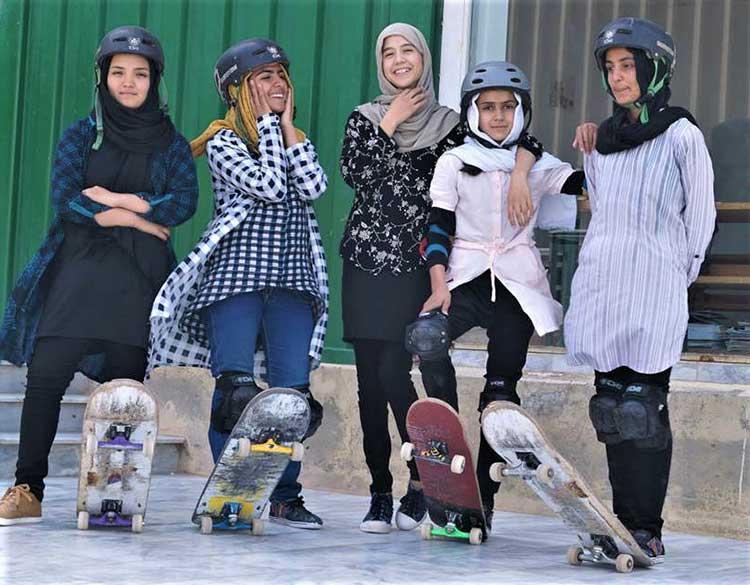 Afghan teens skateboarding