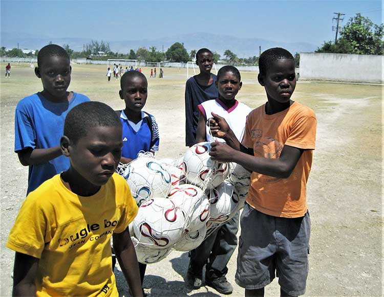 Kids in soccer program