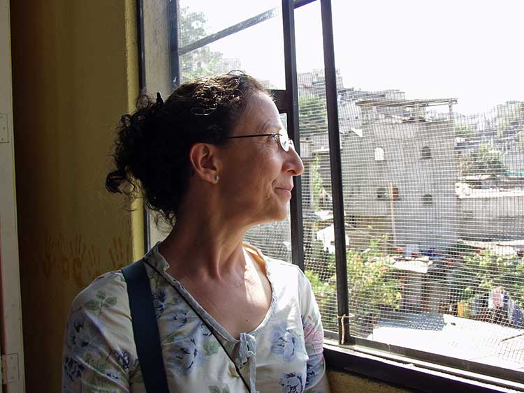 Tita looking out window