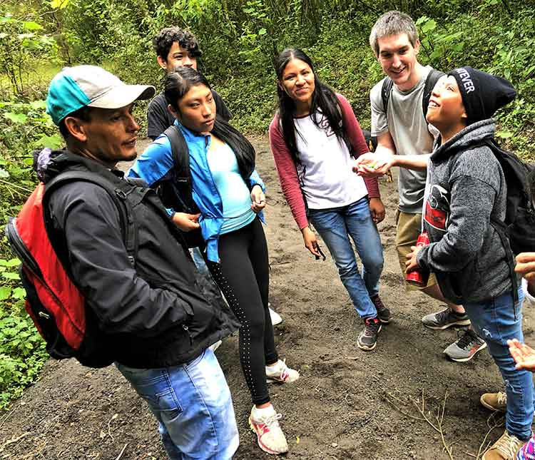 Volcano Pacaya guide with students