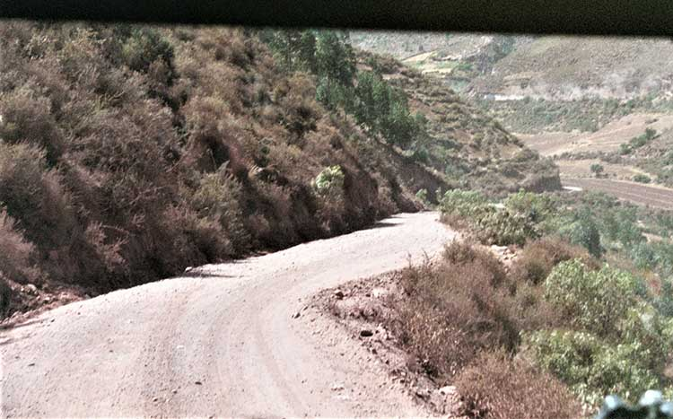 Driving through the mountains of Peru