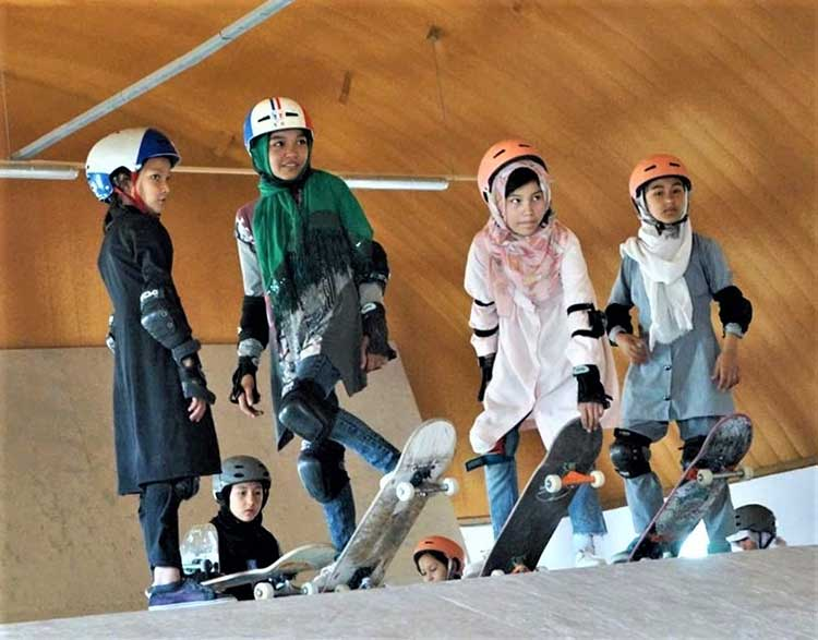 Afghan girls skating