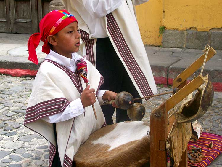 Young kid playing drum